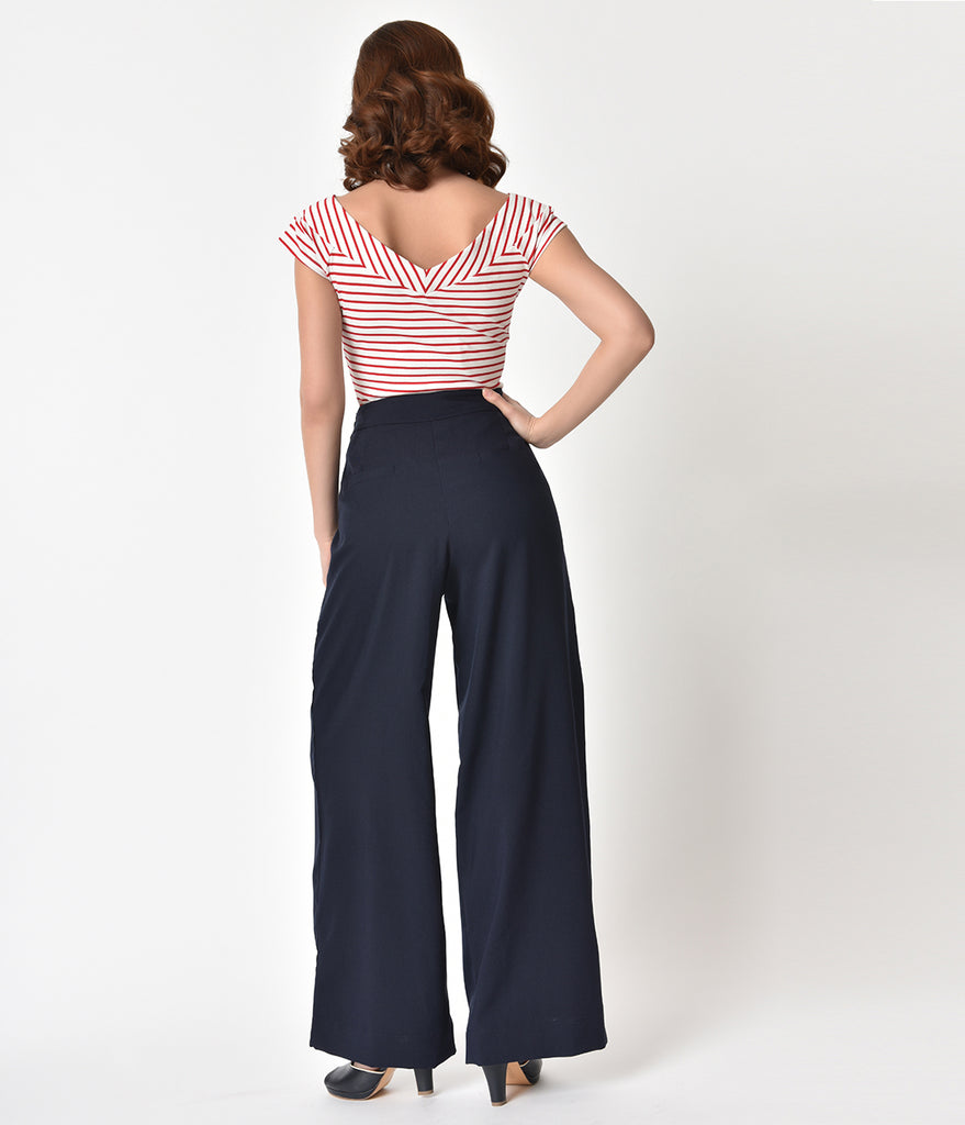 Unique Vintage 1940s Style Midnight Blue High Waist Sailor Ginger Pants