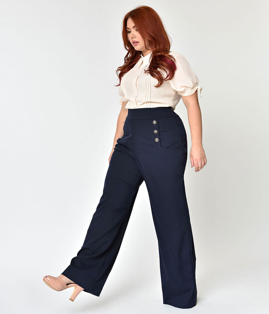 Unique Vintage Plus Size 1940s Style Midnight Blue High Waist Sailor Ginger Pants