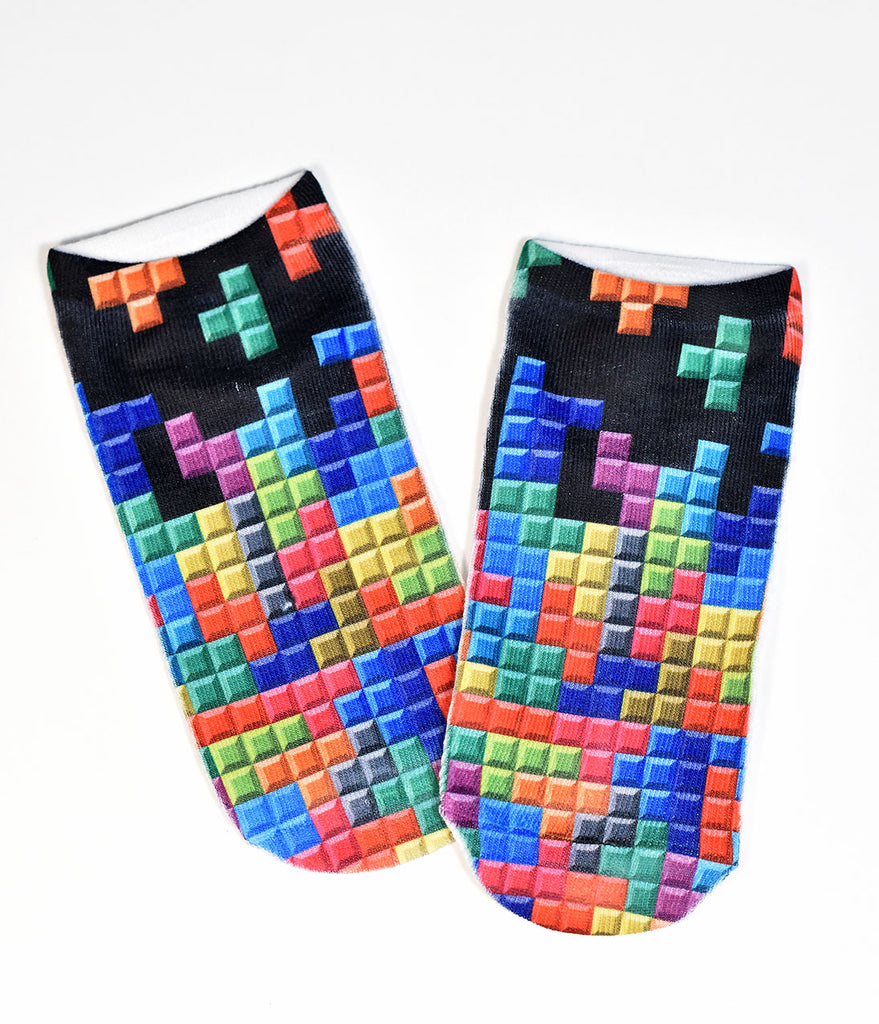 Multicolor Falling Blocks Knit Socks
