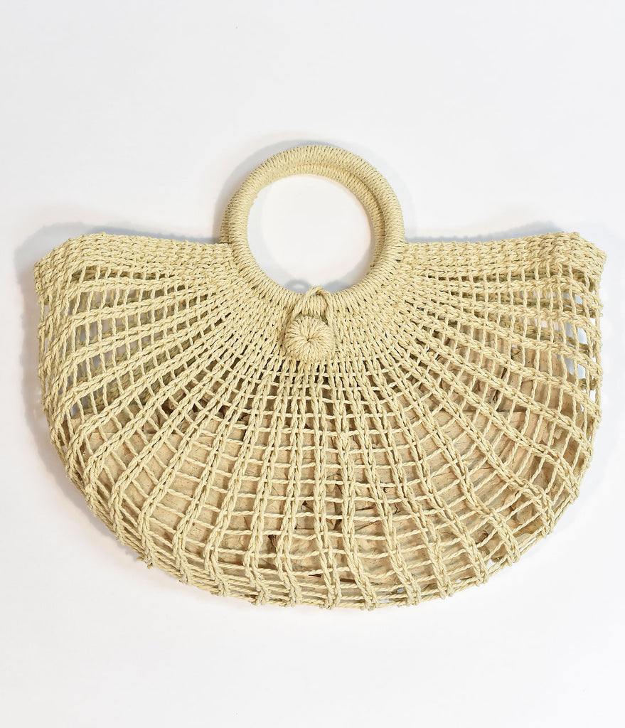 Ivory Woven Straw Tote Bag