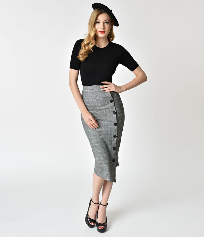 Black & Grey Checkered Button Up Pencil Skirt
