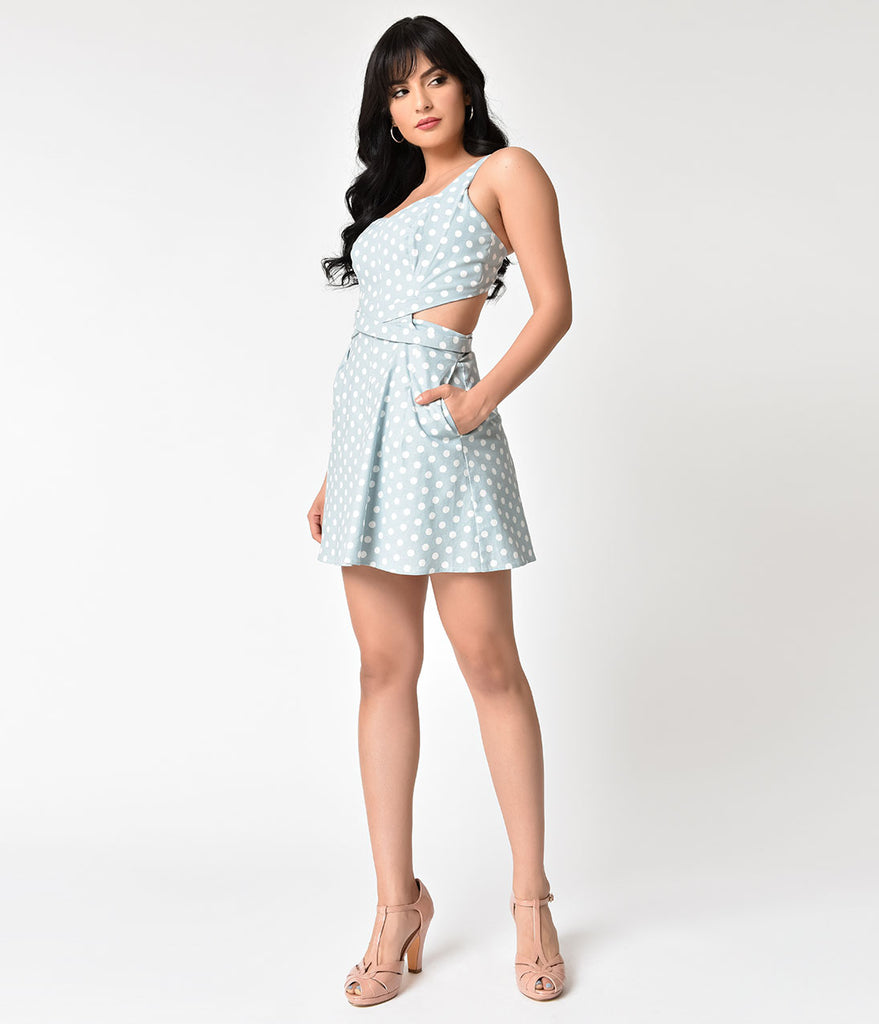d211ce8063a Unique Vintage 1950s Light Blue   Ivory Retro Dotted Skirted Reynolds Romper  ...