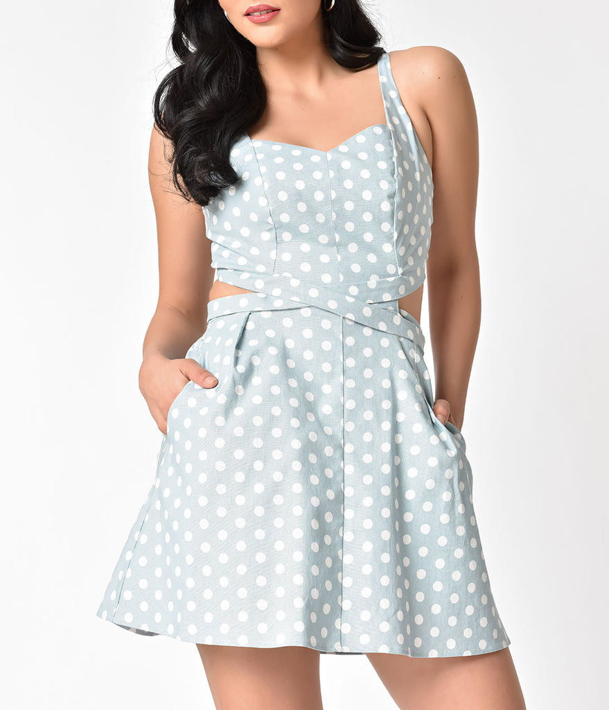 b0b30725e34 ... Unique Vintage 1950s Light Blue   Ivory Retro Dotted Skirted Reynolds  Romper ...