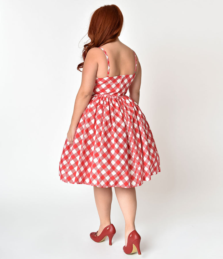 Unique Vintage Plus Size 1950s Style Red & White Checkered Picnic Blanket Darcy Swing Dress