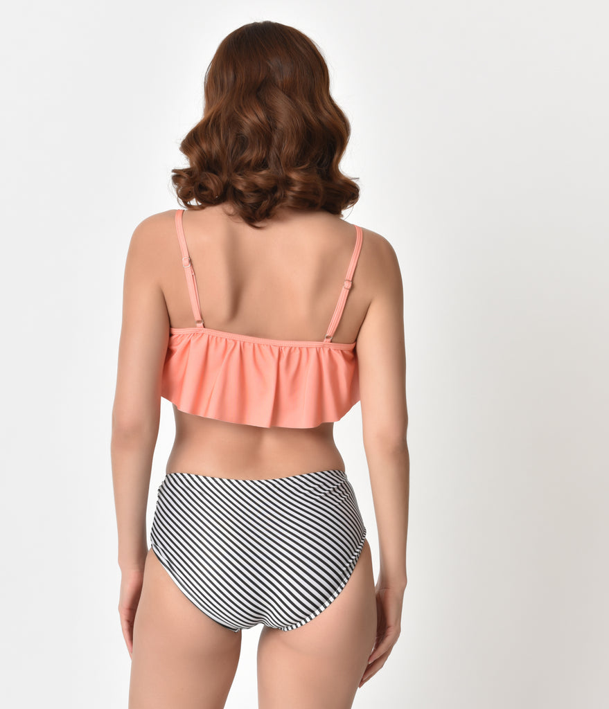 Peach & Striped Ruffled High Waist Two Piece Swimsuit