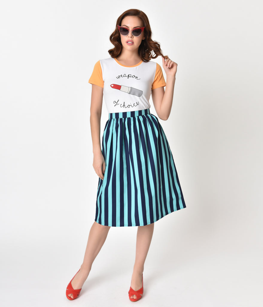 Teal & Navy Blue Striped Gathered Cotton Swing Skirt