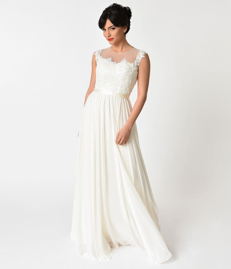 Ivory Chiffon & Floral Lace Embellished Wedding Gown