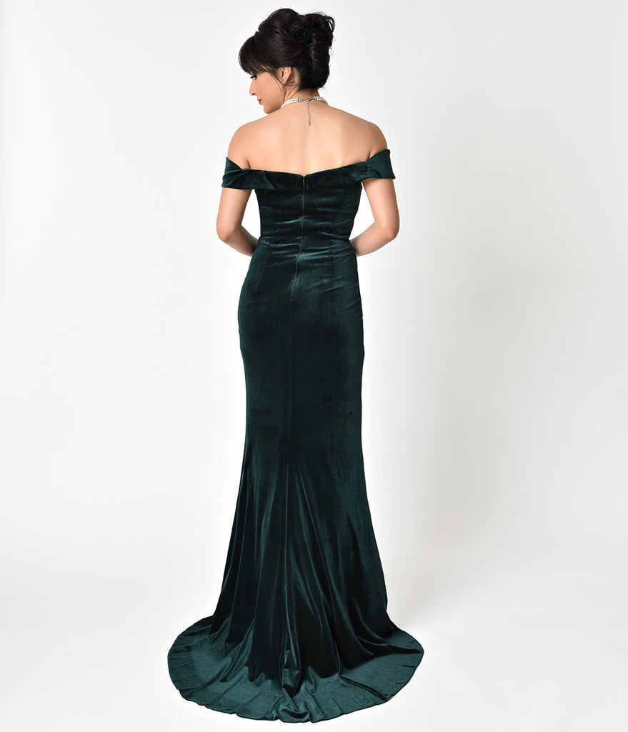 Hunter Green Velvet Bateau Neckline Cap Sleeve Gown