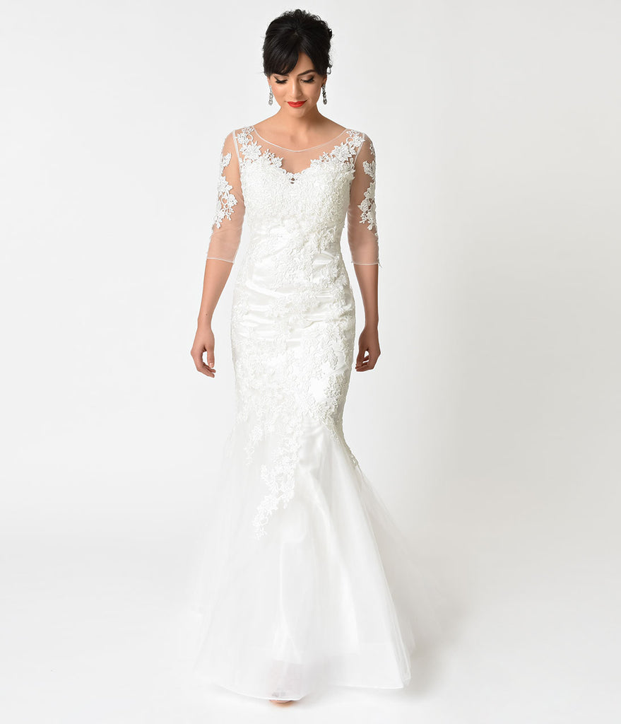 Ivory Floral Lace & Mesh Three-Quarter Sleeve Mermaid Wedding Gown ...