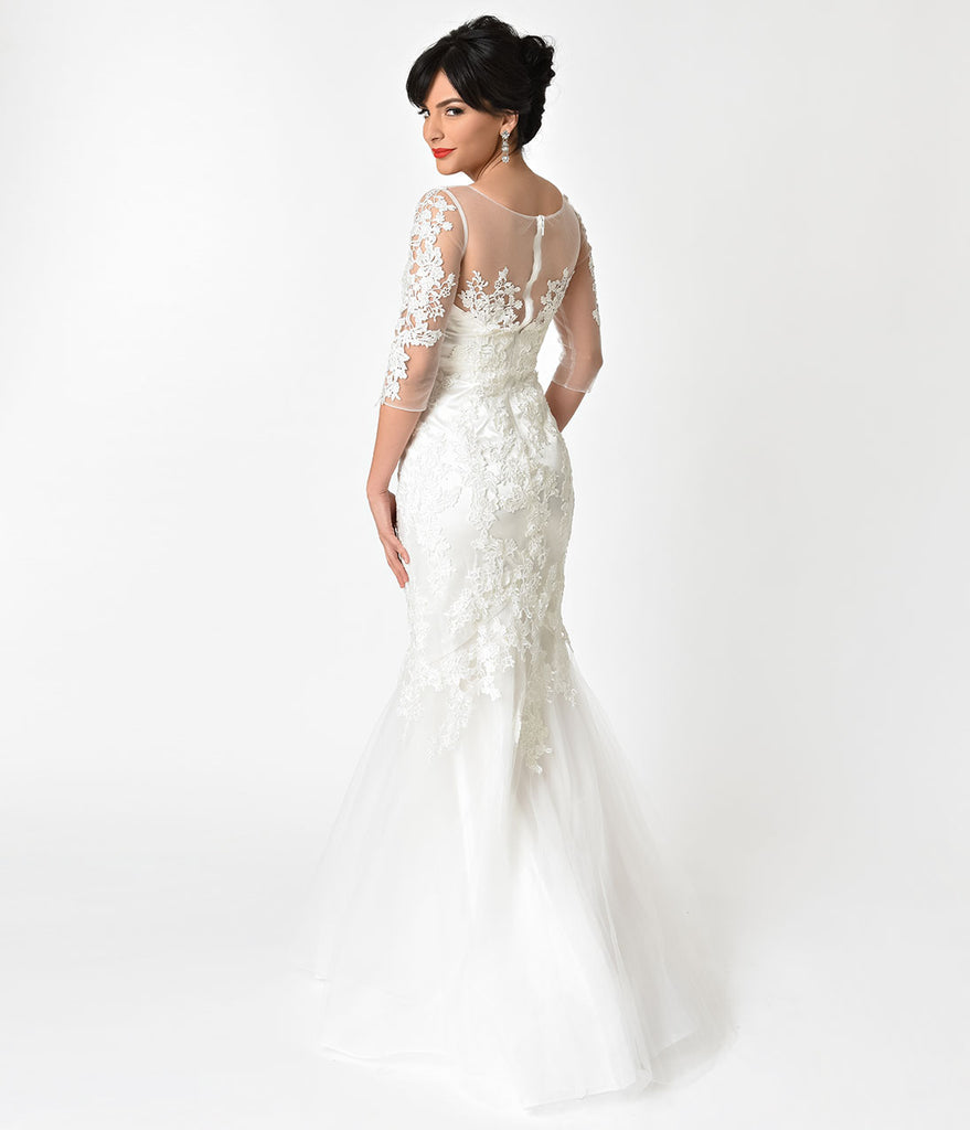 Ivory Floral Lace & Mesh Three-Quarter Sleeve Mermaid Wedding Gown