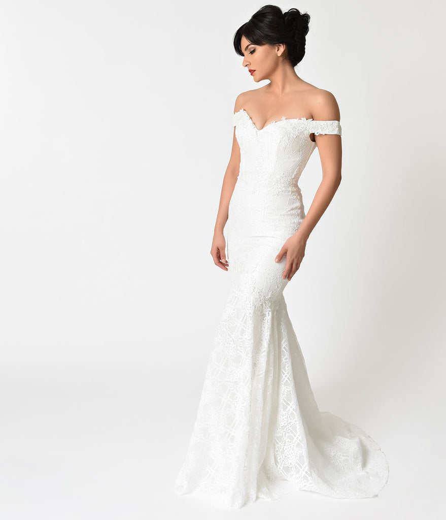 Ivory Floral Lace Pearl Beaded Mermaid Wedding Gown