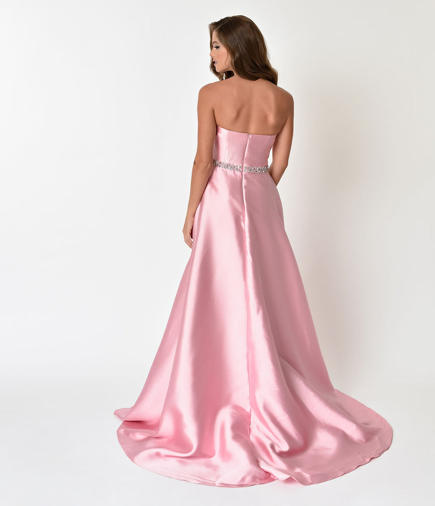Dusty Rose Pink Strapless Sweetheart Neckline Satin Prom Gown