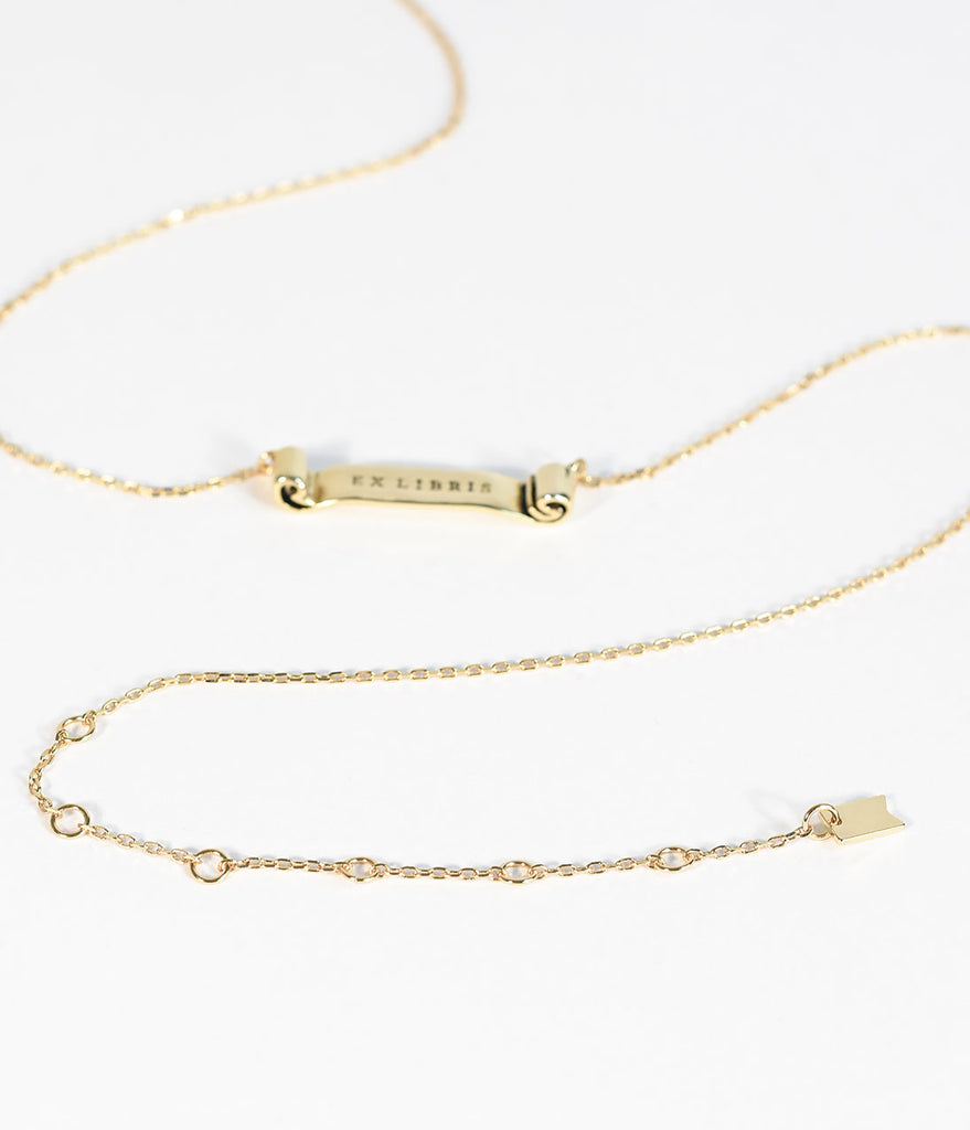 Gold Plated Ex Libris Necklace