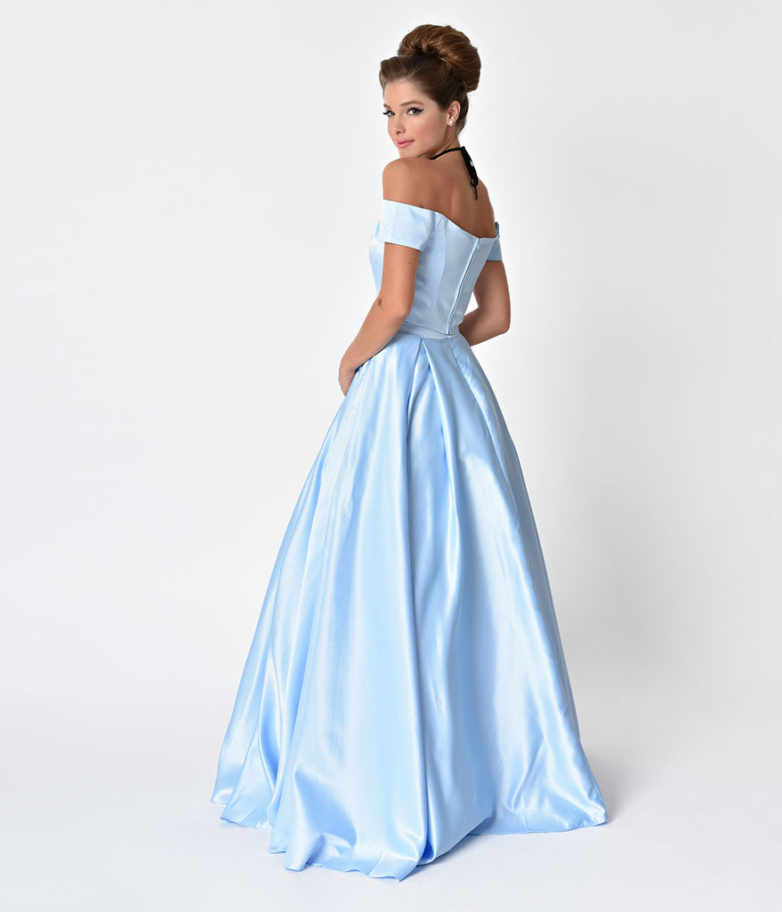 Perry Blue Off The Shoulder Two Piece Satin Prom Gown
