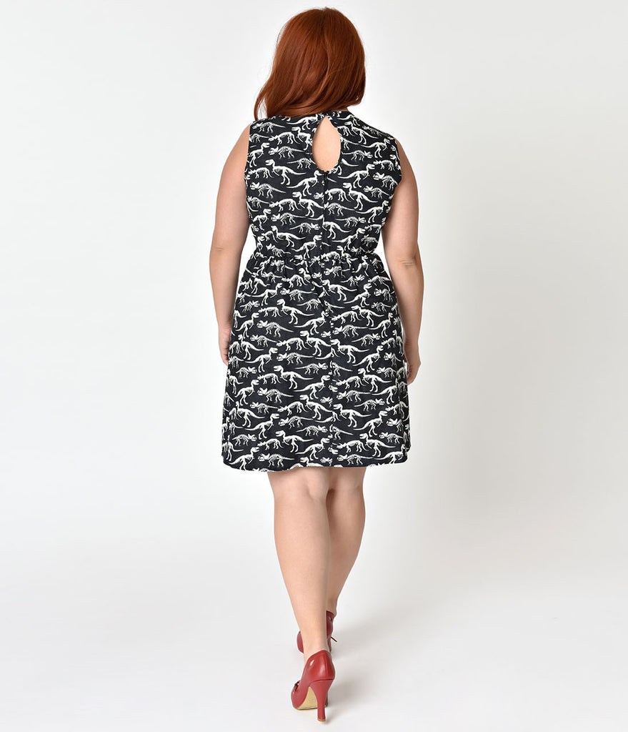 Folter Plus Size Black Glow In The Dark Prehistoric Fit & Flare Dress