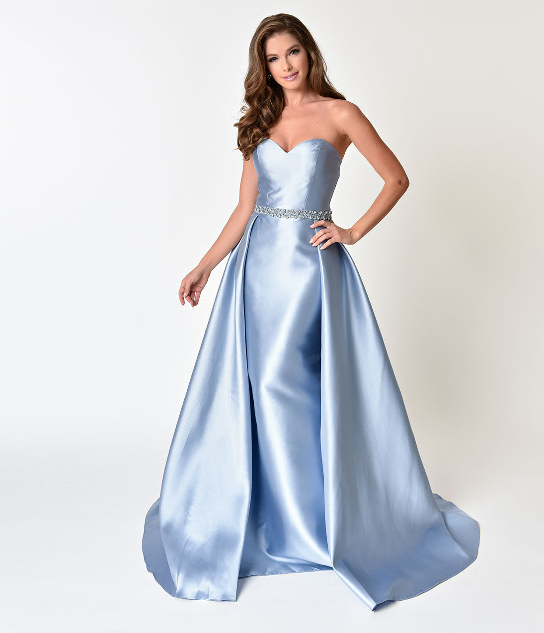 1950s Style Cocktail Dresses & Gowns Perry Blue Strapless Sweetheart Neckline Satin Prom Gown $190.00 AT vintagedancer.com