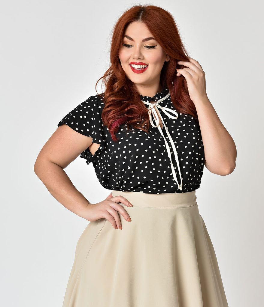 Plus Size Black & Ivory Ruffled Collar Polka Dot Blouse
