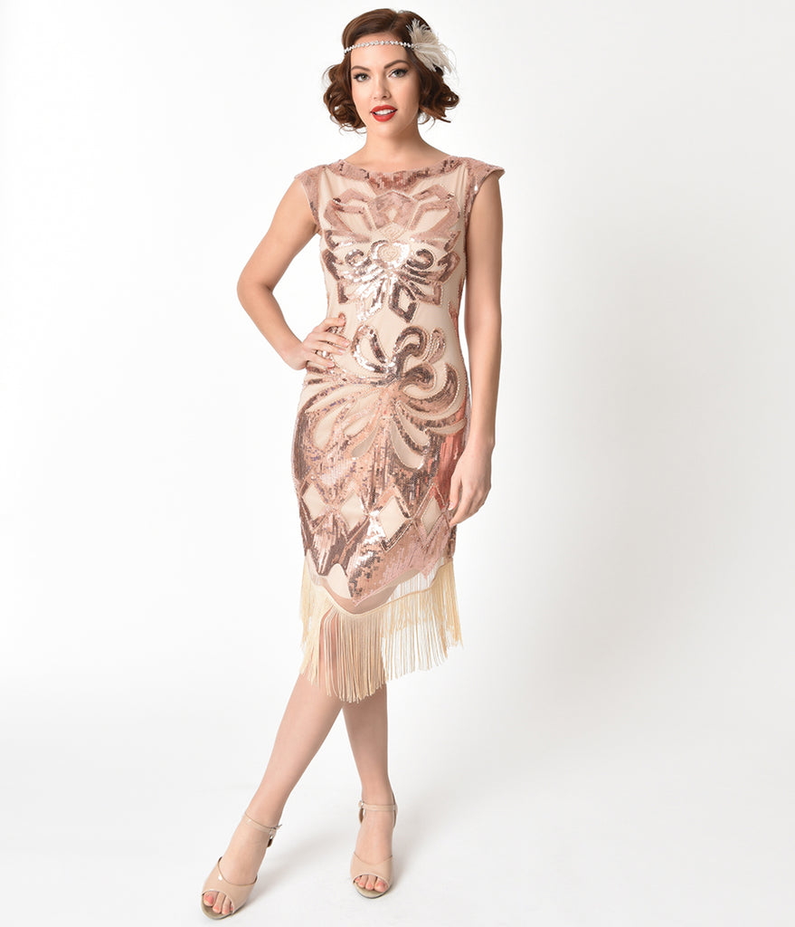 Unique Vintage 1920s Style Beige & Rose Gold Sequin Edwige Flapper Dress