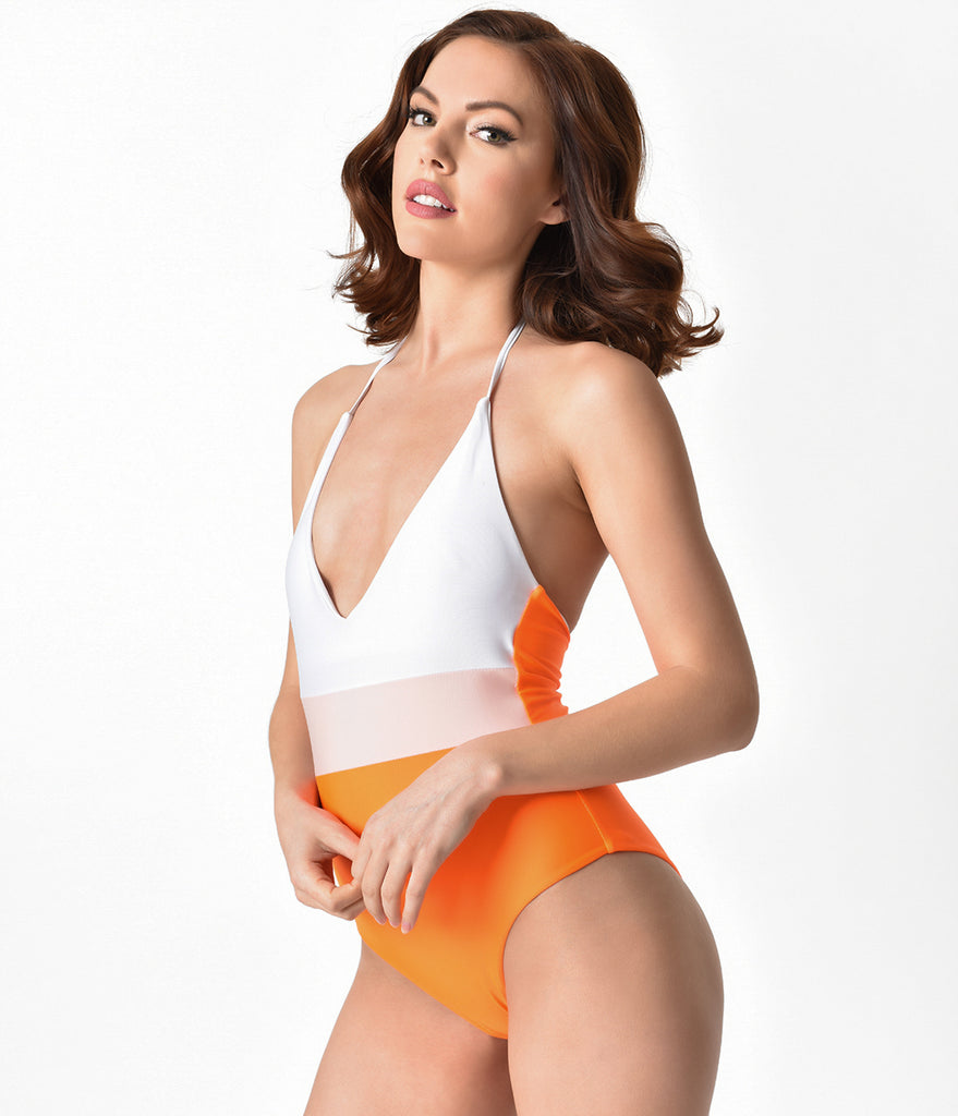 Orange & White Color Block Halter Top One Piece Swimsuit
