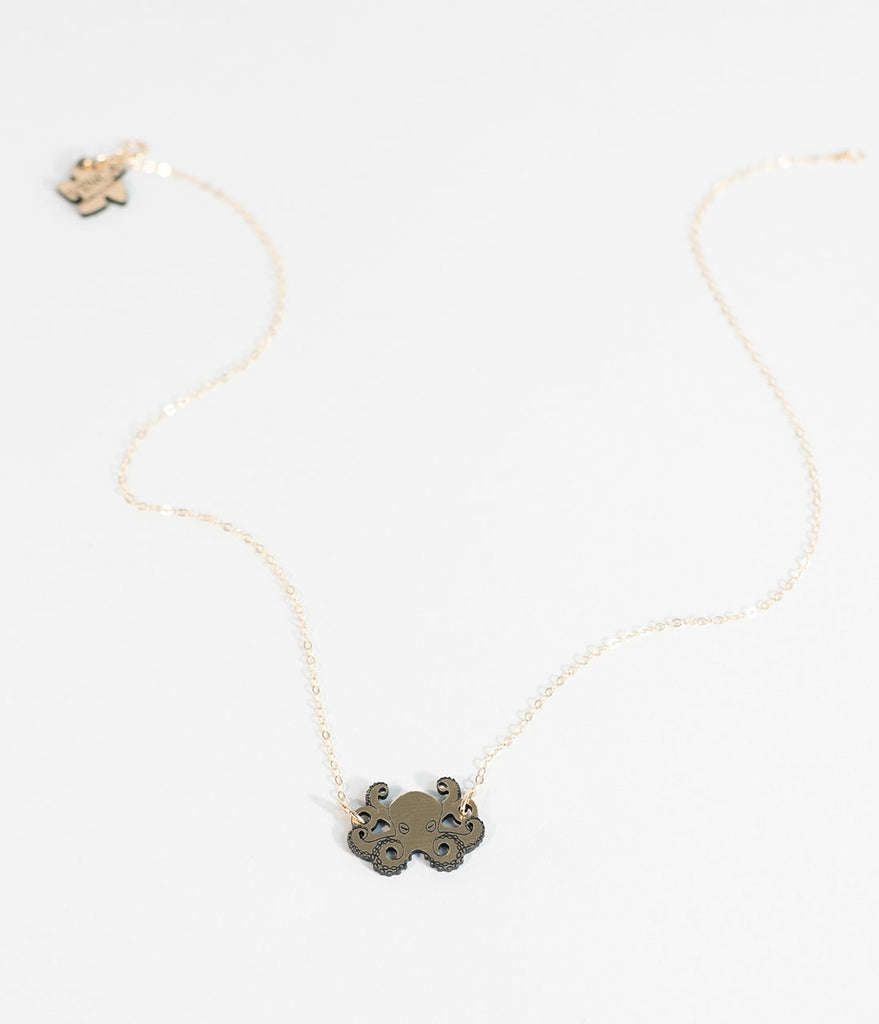 Gold & Black Two Tone Octopus Necklace