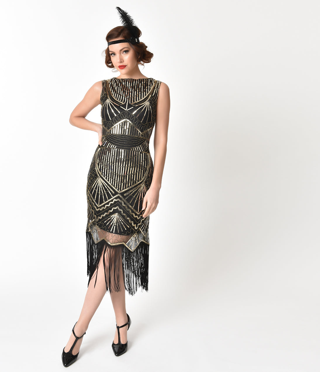 Roaring 20s Costumes- Flapper Costumes, Gangster Costumes Unique Vintage Black  Gold Sequin Therese Long Flapper Dress $98.00 AT vintagedancer.com