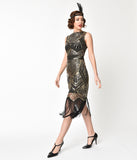Unique Vintage Black & Gold Sequin Therese Long Flapper Dress