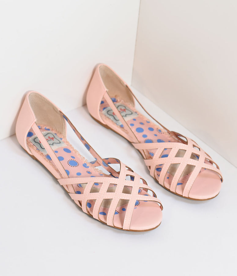 Bettie Page Pink Cut-Out Carren Flats