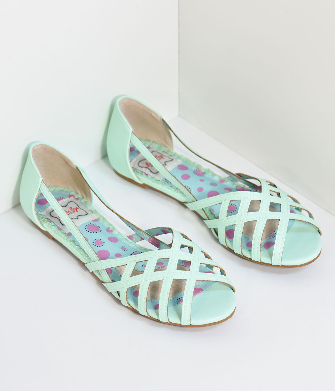 1950s Style Shoes | Heels, Flats, Saddle Shoes Bettie Page Mint Cut-Out Carren Flats $58.00 AT vintagedancer.com