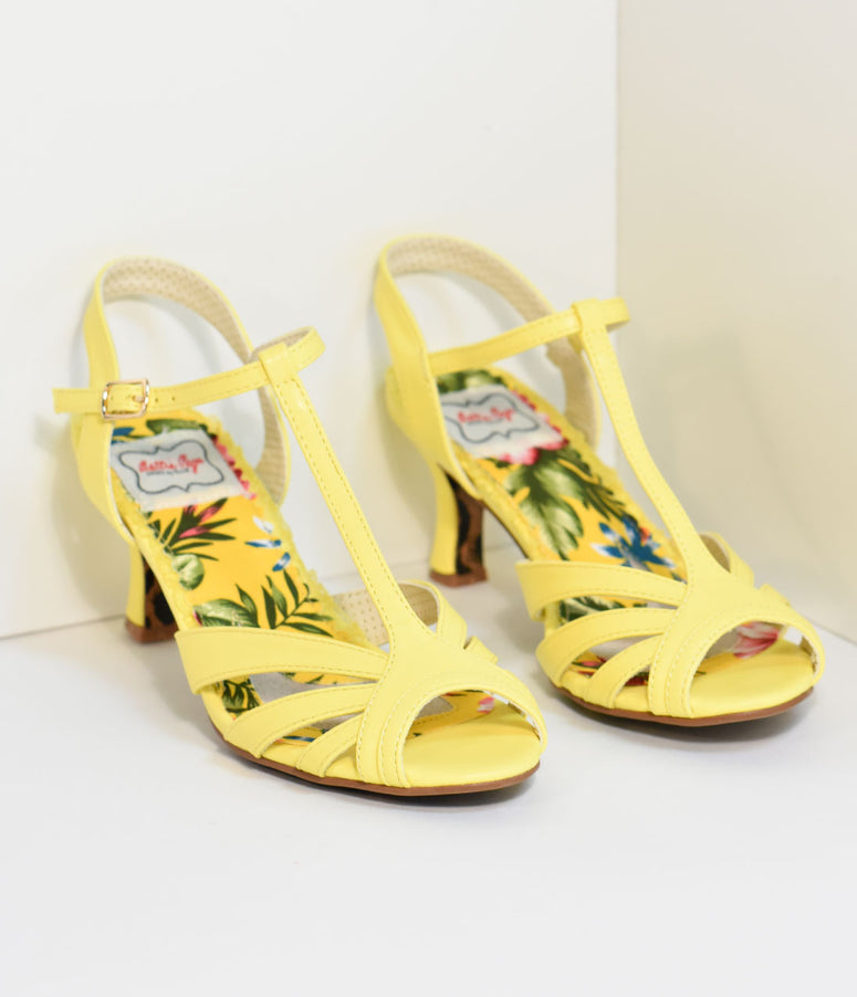 Bettie Page Vintage Style Yellow T-Strap Layla Heels