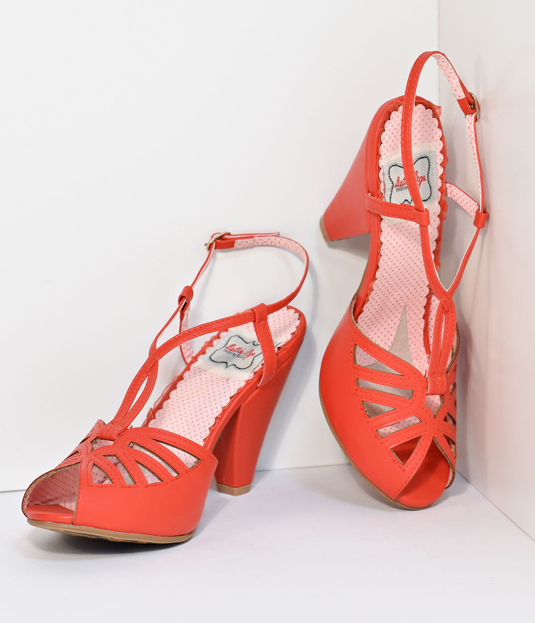 1950s Style Shoes | Heels, Flats, Saddle Shoes Bettie Page Red Slingback Cut-Out Aria Heels $76.00 AT vintagedancer.com