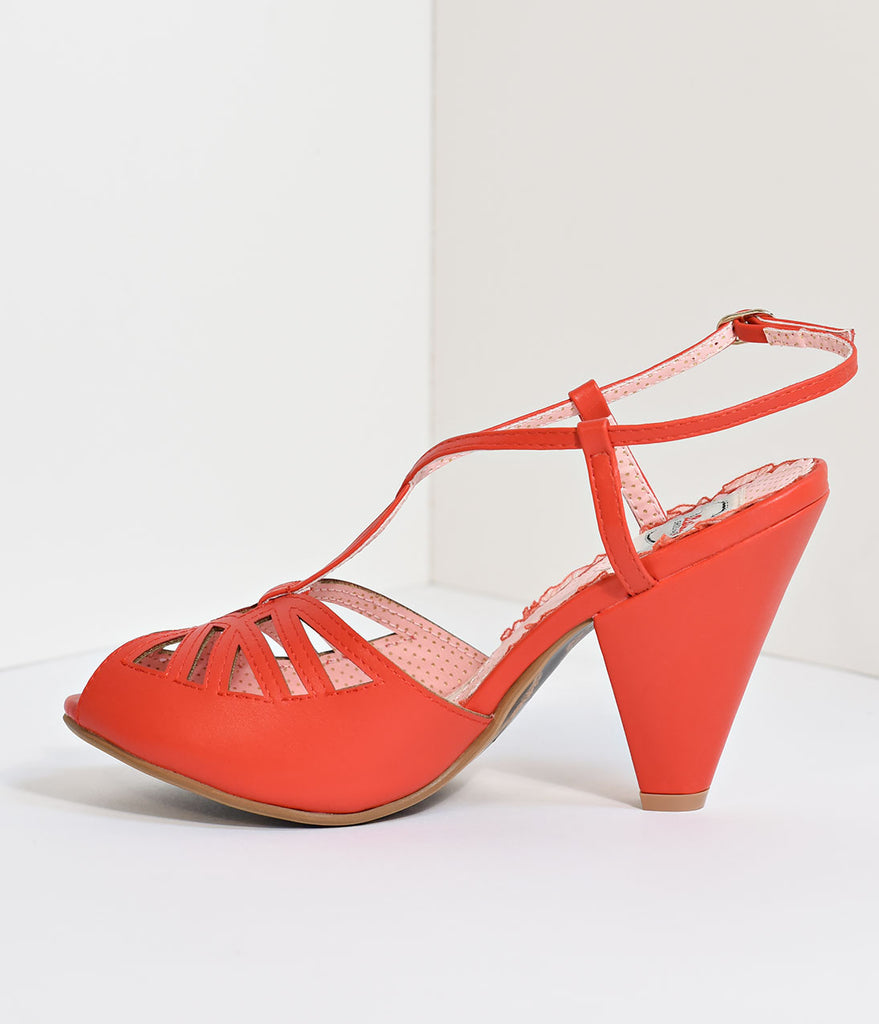 Bettie Page Red Slingback Cut-Out Aria Heels