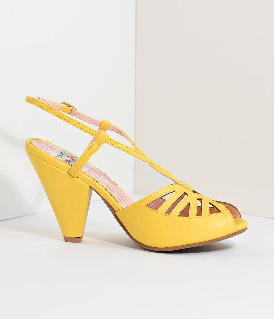 Bettie Page Yellow Slingback Cut-Out Aria Heels