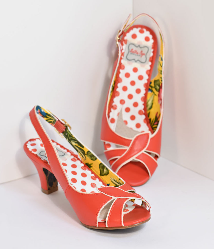 Bettie Page Retro Slingback Red Cara Peep Toe Heels
