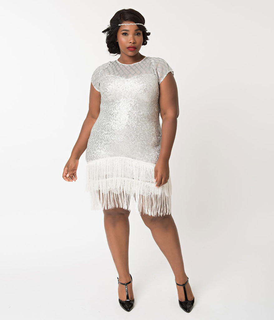 Unique Vintage Plus Size 1920s Antique Silver Sequin Fringe Del Mar Flapper Dress