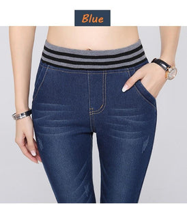 High Waist Stripe Warm Jeans