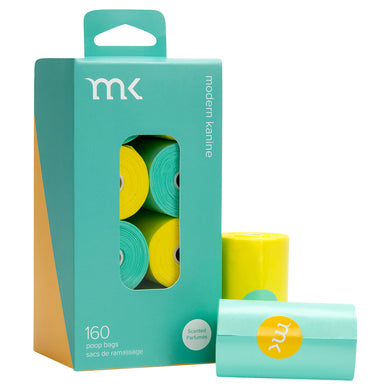 MK Poop Bag Refill in Turquoise & Yellow (8 rolls/160 bags)