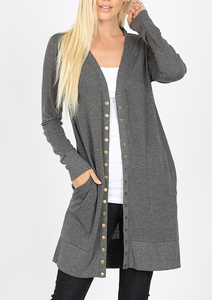 My Favorite Long Cardigan Sweater with Snap Detail