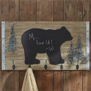 Large Bear Chalkboard with Tree Accents and Hooks
