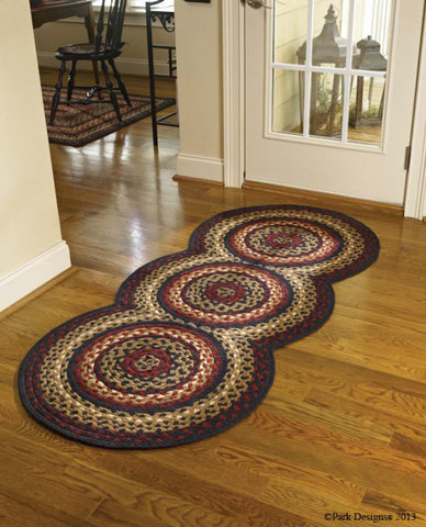 Folk Art Braided Round Rug Runner