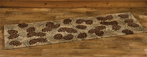 Walk in the Woods Pinecone Hooked Rug Runner