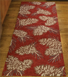 Pinecone Patterned Hooked Rug Runner
