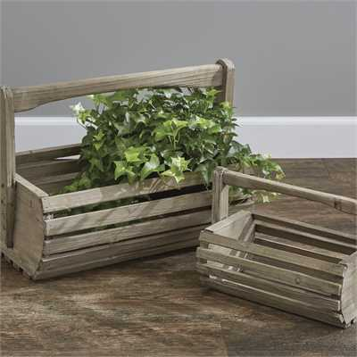 Rustic Wood Planter Box Baskets Set of 2