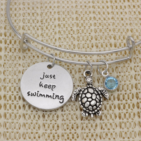 "Sea Turtle ""Just Keep Swimming"" Bracelet"