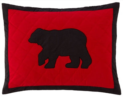 Red & Black Bear Pillow Sham King