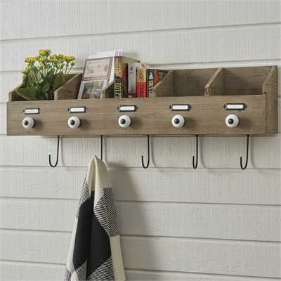 Rustic Wood Wall File Box with Hooks