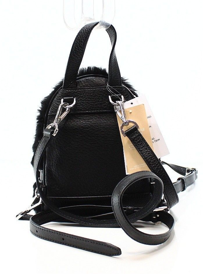 5375f657392b ... MICHAEL KORS Rhea Zip NWT Mini Black Fur Shearling Messenger Crossbody  Backpack ...