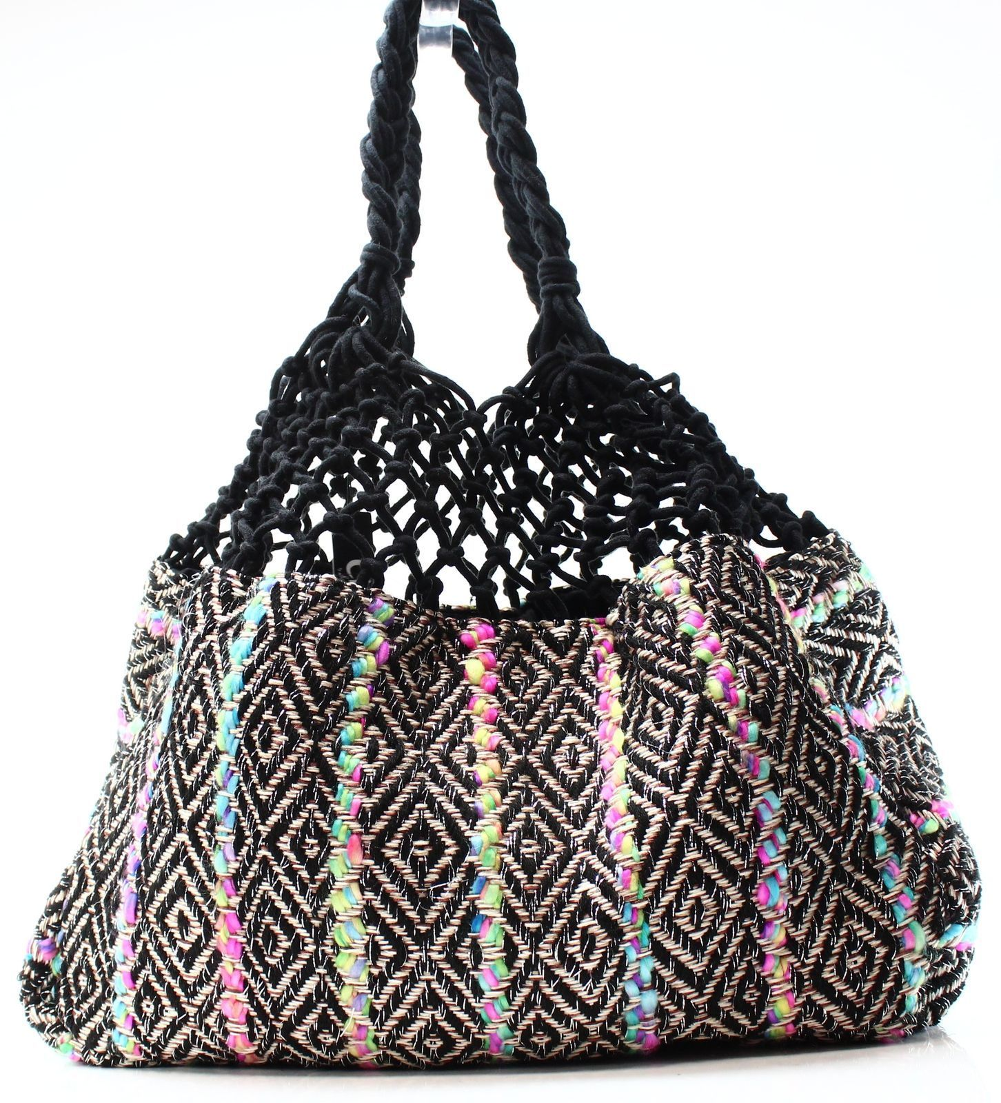Circus by Sam Edelman $48 New Black Colorblock Gentry Crochet Large Tote Purse