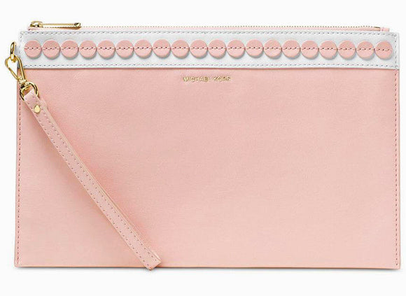 18f3b19b6e9841 Michael Kors $138 NWT Analise XL Leather Zip Clutch Wrist-let Blossom Pink  Gold