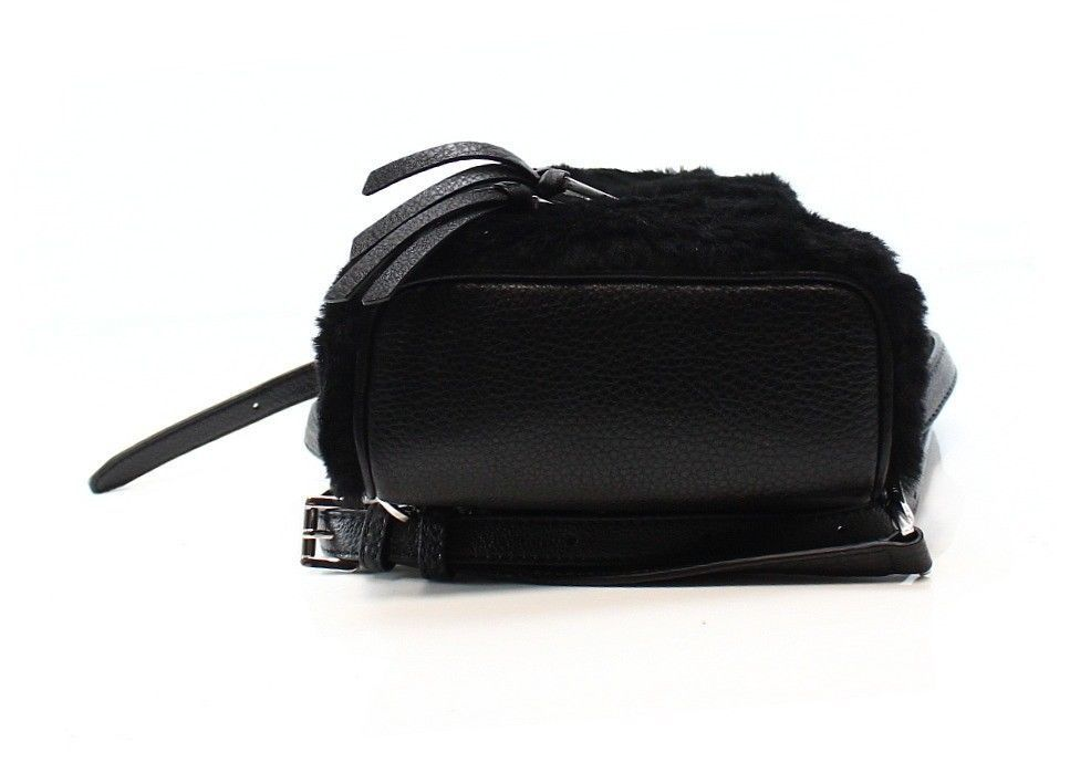 6dd7d6a9726e ... MICHAEL KORS Rhea Zip NWT Mini Black Fur Shearling Messenger Crossbody  Backpack
