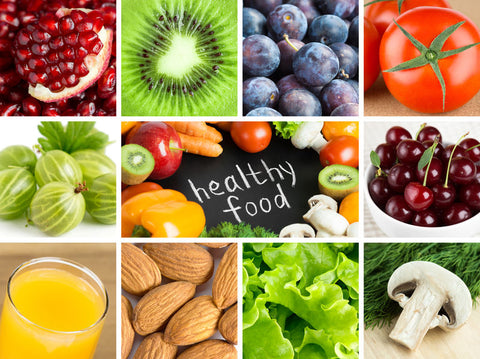 Healthy food vegetables and fruits and fiber and antioxidants